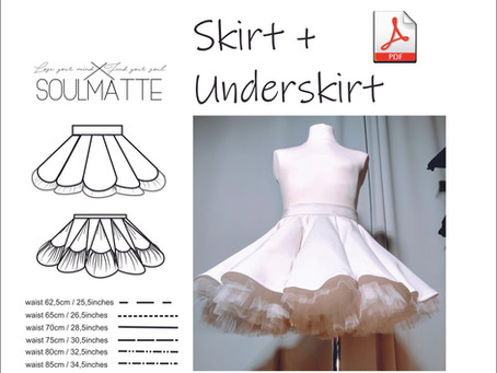 Retro pin-up look inspired skirt + vintage underskirt pattern