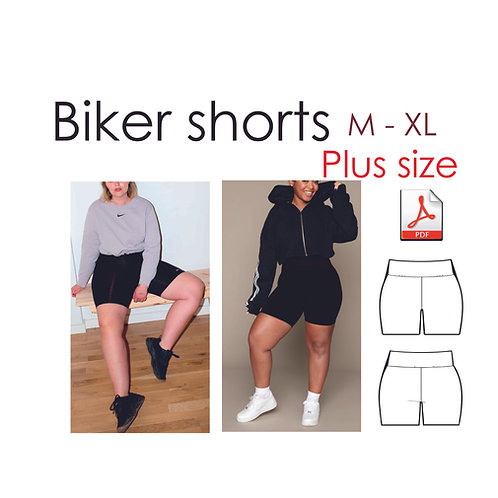 Plus size leggings sewing pattern, biker shorts, sizes M-XL, EU 42-50, Begginer