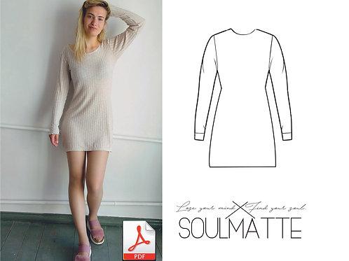 Basic dress long sleves pattern, Long tshirt pattern, DIY simple dress, patern