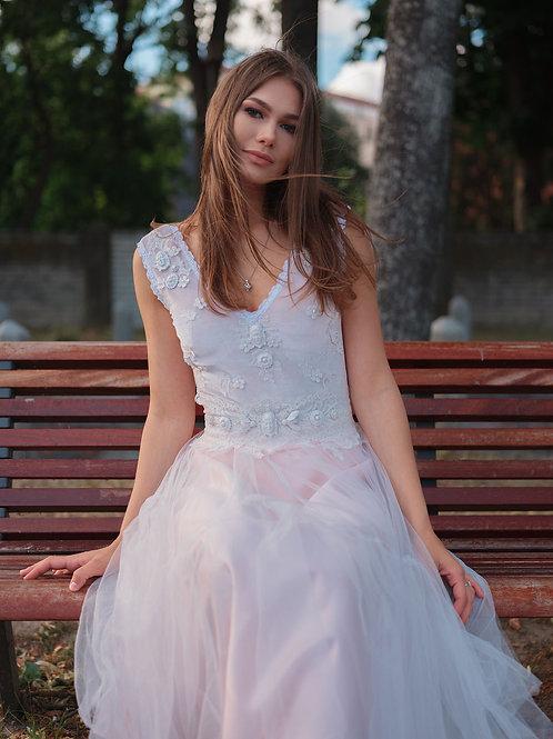 """Pink evening gown """"Flamingo"""", half calf dress, Short dress"""