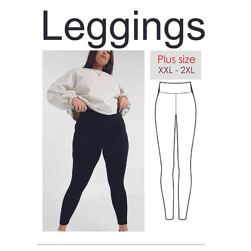 PDF leggings pattern, pants pattern for beginners plus size X - 2XL, DIY