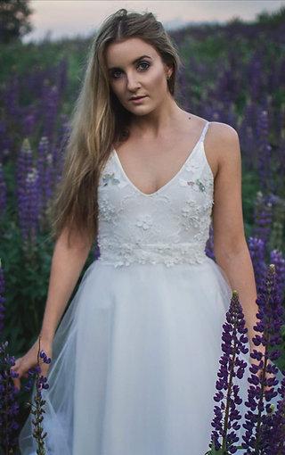 "White dress ""Hummingbird"", A-line alternative wedding dress with tulle flowers"