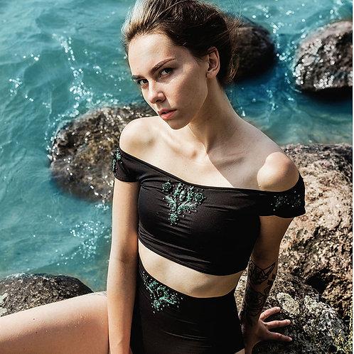 Black high waist swimsuit