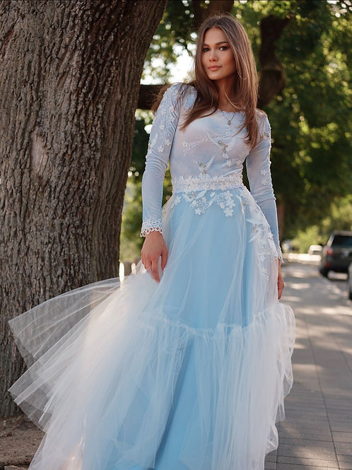 """Long sleeves dress """"Bluebird"""", soft blue velvet, Alternative gown"""