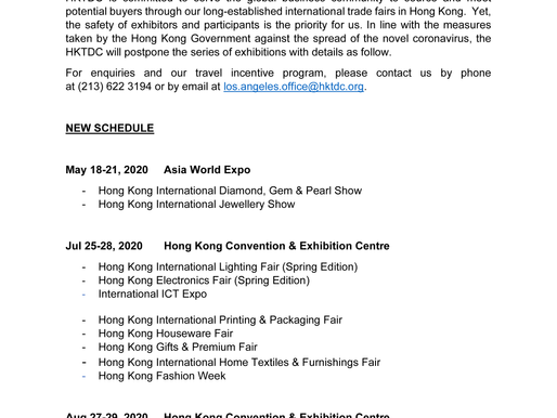 Postponement of HKTDC Exhibitions in Hong Kong
