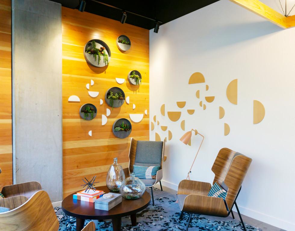 Lobby Feature Walls, Die-Cut wood