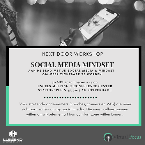 Workshop Social Media Mindset 30 mei 2020 (2 pers.)