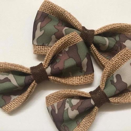 The Rambo Camouflage Burlap Dog Bow Tie