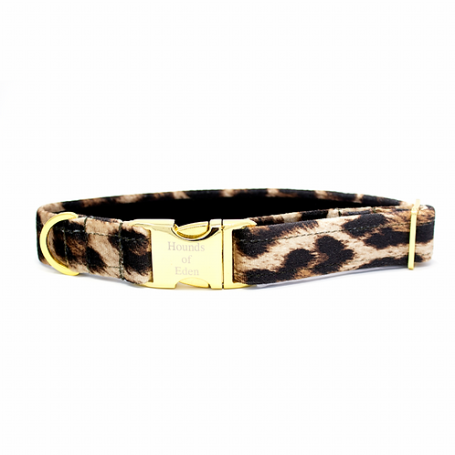 """Leopard Vibes"" dog collar with matching lead and bowtie"