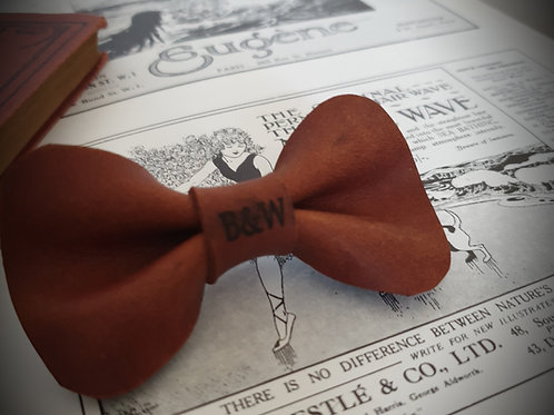 "The ""Cognac"" Leather BowTie"