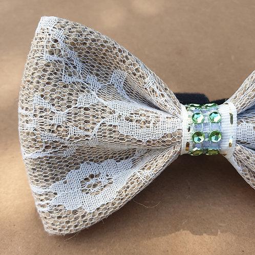 "The ""Jewel"" Burlap & Lace Dog Bow Tie"