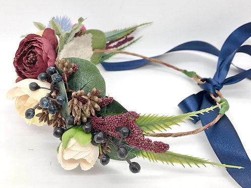 The Navy Flower Collar Wreath