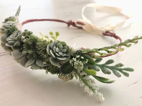 "The ""Succulents"" dog flower wreath collar"