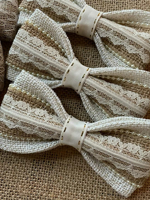 """The """"Burlap Pearl"""" dog bow tie"""