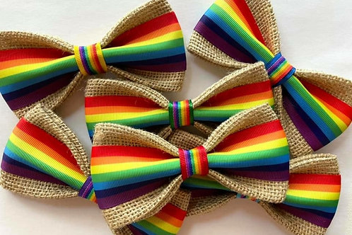 """The """"Be Proud""""  Burlap Dog Bow Tie"""
