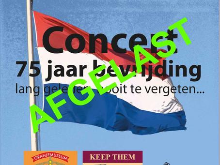 Concert 75 jaar bevrijding op 1 april afgelast