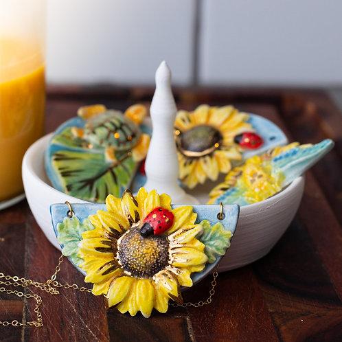 Sunflower & Ladybug Pendant