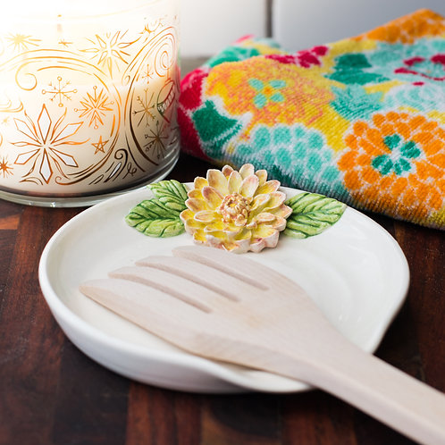 Yellow & Pink Dahlia Spoon Rest