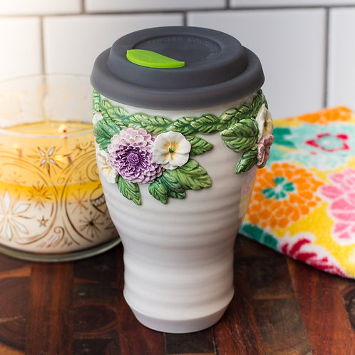 Chrysanthemum & Pansy Tall Tumbler