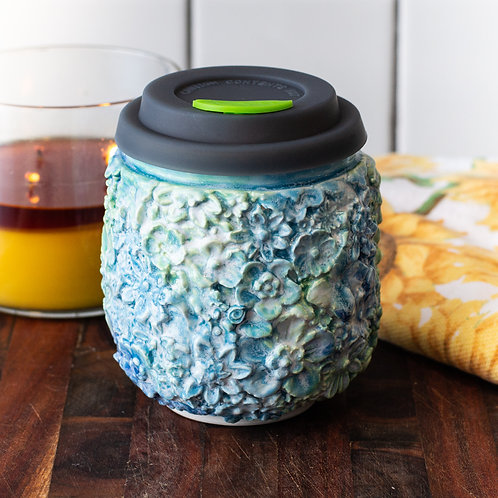 Floral Wrapped Tumbler in Blues