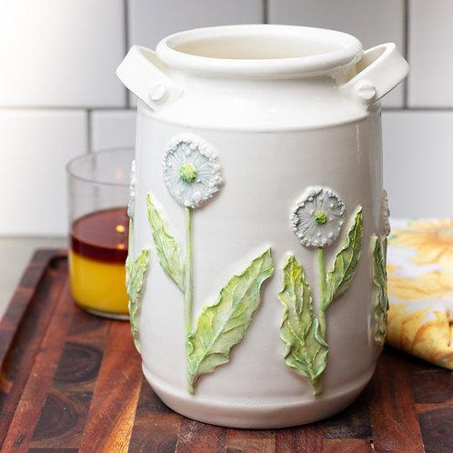 Dandelion Puffs Milk Pail Vase