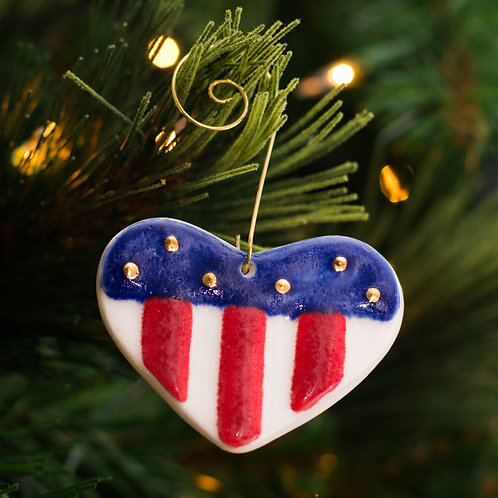 American Heart Ornament with Gold Stars
