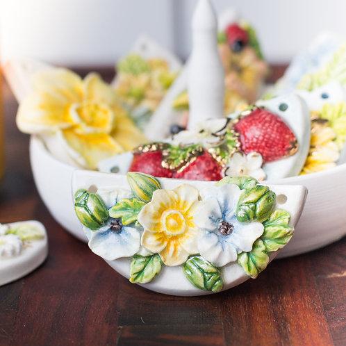 Pansies, Daffodil, & Junebugs Pendant | Pearl Luster
