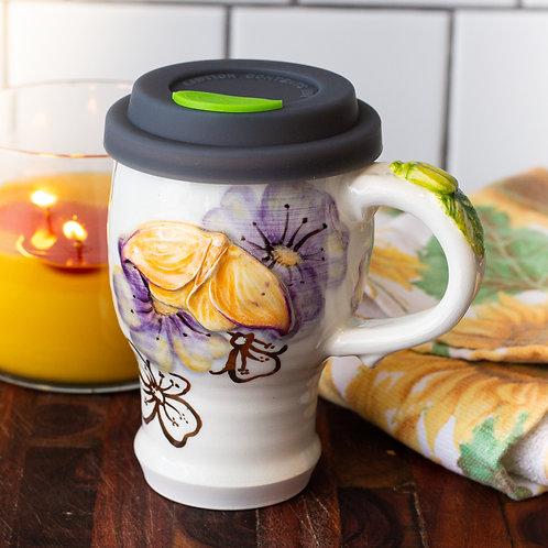 Handpainted Anemone & Moth Lidded Mug
