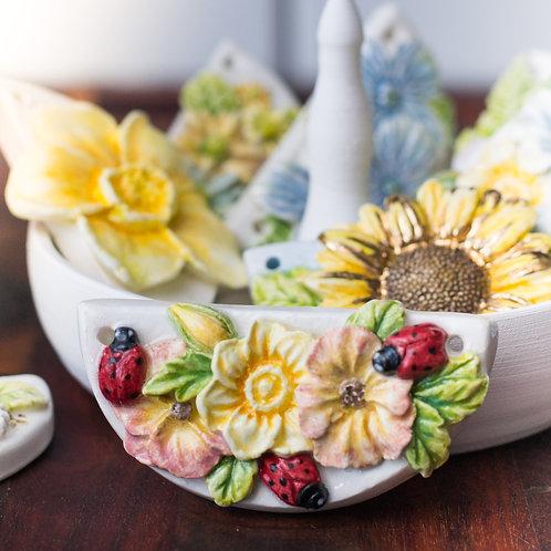 Daffodil, Pansies & Ladybugs Pendant