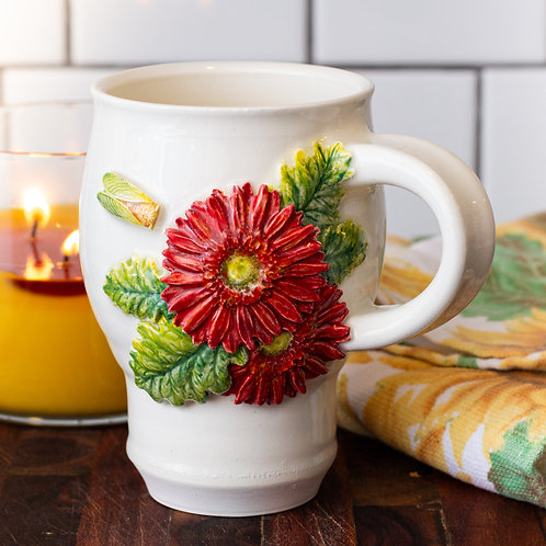Red Daisy & Cicada Mug