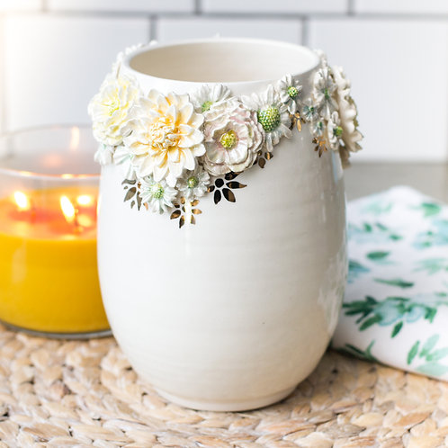 Floral Rimmed Vase | Pearl & Gold Lusters