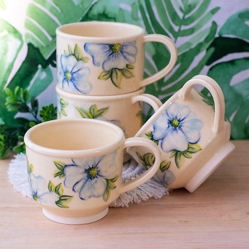 Blue Flower Teacup Set