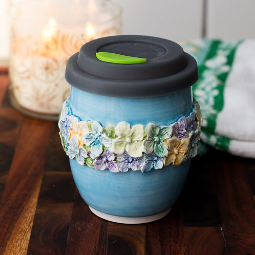 Floral Wrapped Turquoise Tumbler
