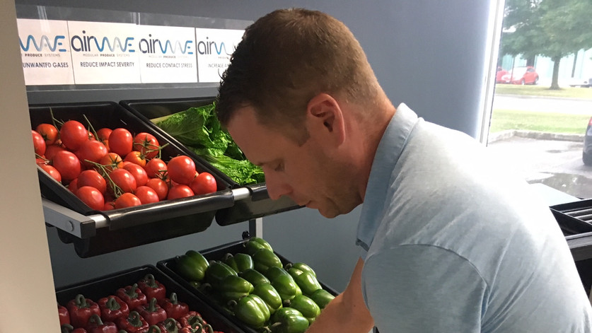 SET NEW PRODUCE TRAYS IN PLACE