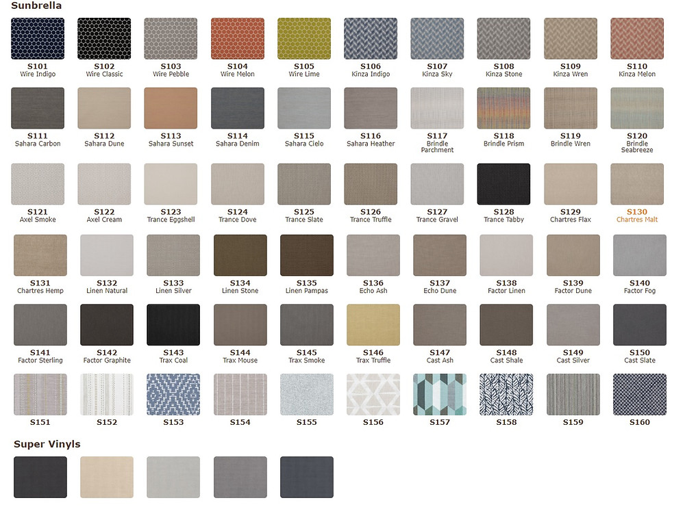 We invite you to come in and take a look at all of the Sunbrella choices we have.