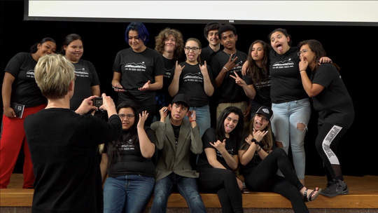 Students in the Rising Voices club pose for a picture in Browning. (Photo11: MAPS Media Institute Photo)