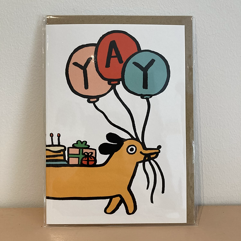 Yay sausage dog card