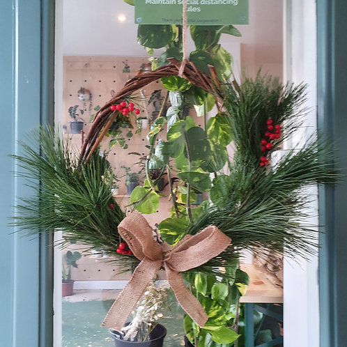 White Pine and Berries Christmas Wreath - 35cm wide