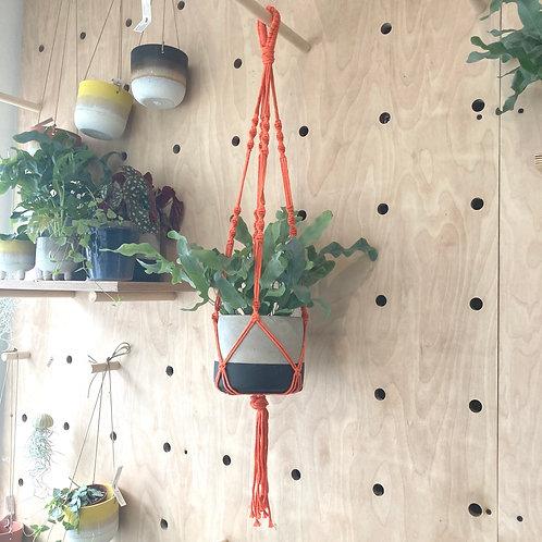 Hanging Macrame Plant Holder Orange