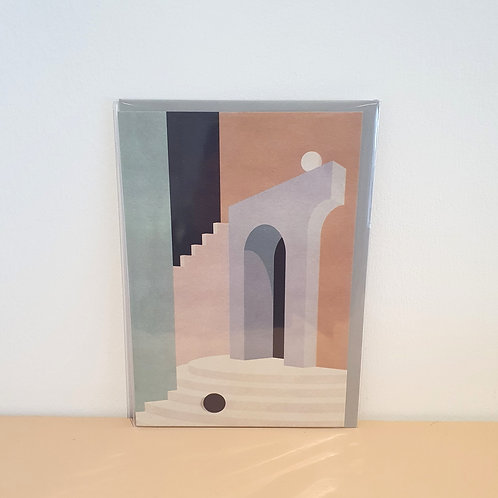 Pastel doorway and stairs card