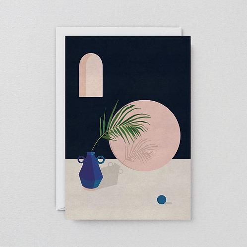 Blue vase with leaf card