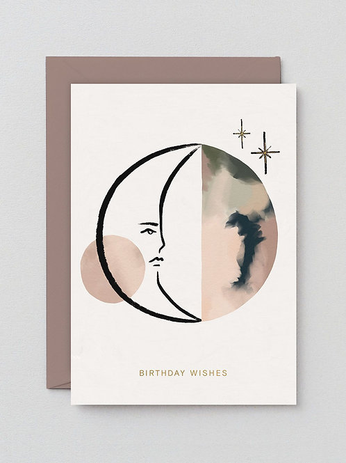 Birthday Wishes Moon Card