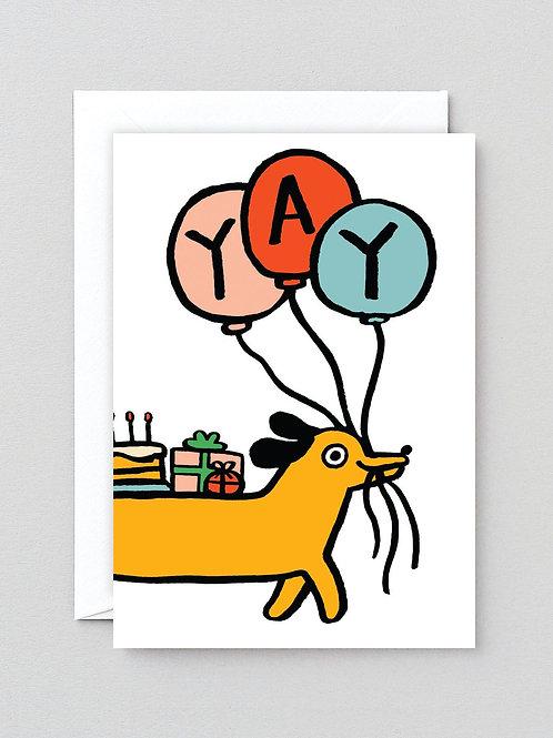 Yay sausage dog card