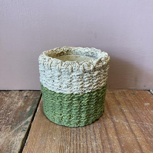 Green Dip Cement Basket Plant pot - Small