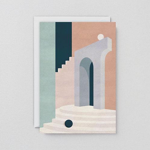 Pastel doorway and stairs card