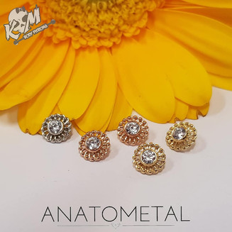 Solid 18k Yellow, Rose and White Gold Virtue Attachments with perfect CZ Center Stones