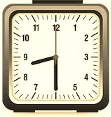 clock displaying opening hours