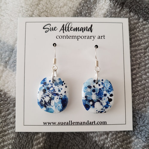 Rounded Square Blue Earrings