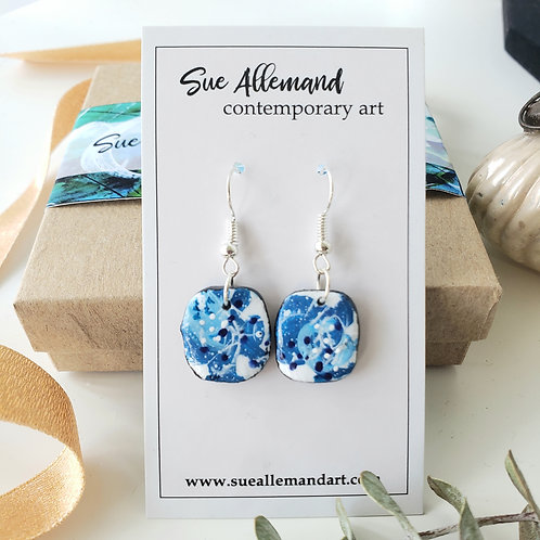 Blue Rounded Square Dangles