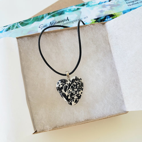 Black & White Small Heart Pendant